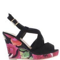 Chaussmoi - Sandales compensées noires talon fleuri de 10,5cm et plateforme
