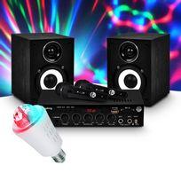 Mydj - Pack Karaoke 2 Enceintes Hifi + Ampli 100W + 2 micros + Ampoule d'ambiance Rvb Culot E27