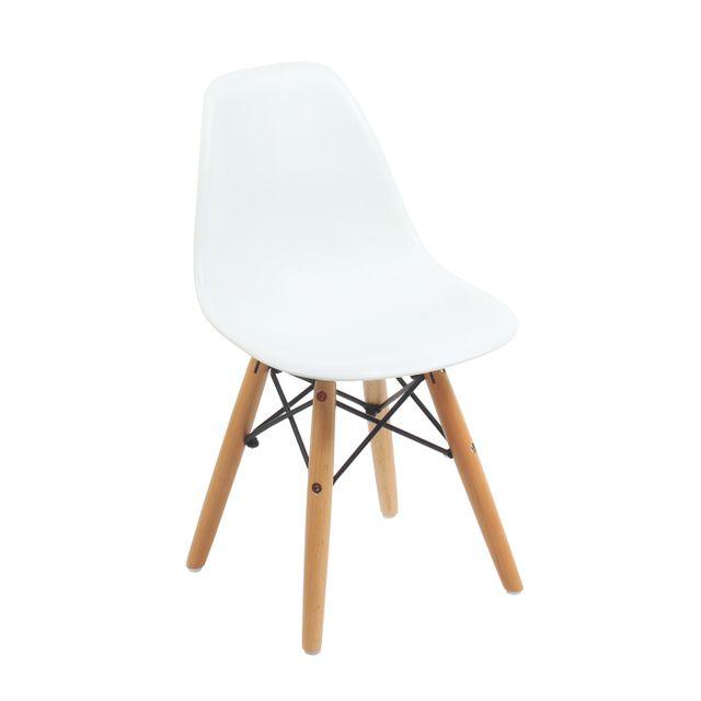sans marque chaise design style scandinave pied bois m tal pour enfant blanc pas cher. Black Bedroom Furniture Sets. Home Design Ideas