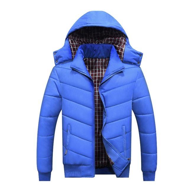 a73074380cd7f Wewoo - Vestes et Gilets bleu Hommes Mode Loisirs Slim Fit Veste à Capuche  Détachable Hiver