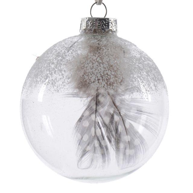 Decoris   Boule de noël en verre transparent neige/plume D.8cm