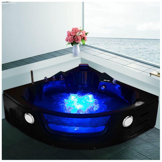 ouest balneo baignoire balneo d 39 angle tactile noire 140cm x 140cm pas cher achat vente. Black Bedroom Furniture Sets. Home Design Ideas
