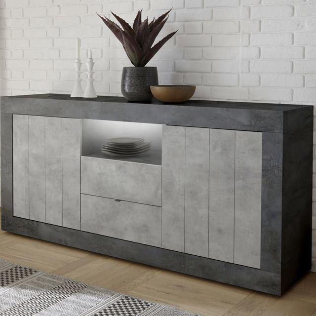 Kasalinea Buffet moderne 180 cm couleur gris béton Mabel 8
