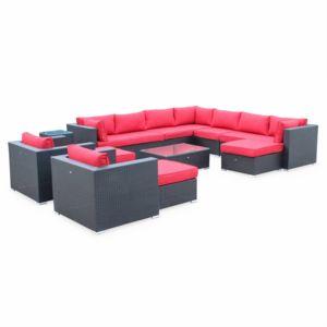 Soldes ALICE\'S GARDEN - Tripoli Noir / Rouge - Salon de jardin en ...