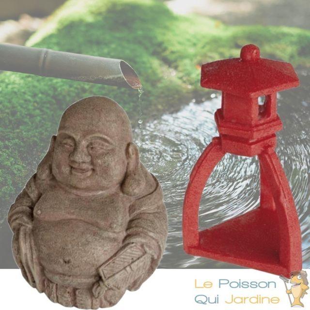 Le Poisson Qui Jardine 2 Décorations De Bassin De Jardin, Bouddha + Pagode Rouge