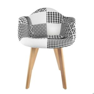 the concept factory fauteuil scandinave patchwork noir blanc pas cher achat vente. Black Bedroom Furniture Sets. Home Design Ideas
