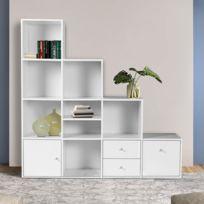 idmarket meuble de rangement escalier 4 niveaux bois blanc avec porte et tiroirs