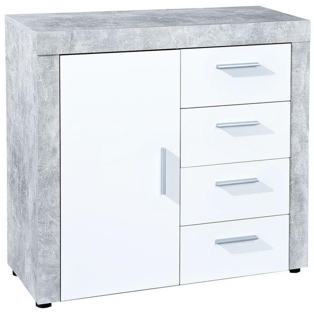Comforium Commode moderne 94 cm 4 tiroirs et 1 porte coloris blanc et gris béton