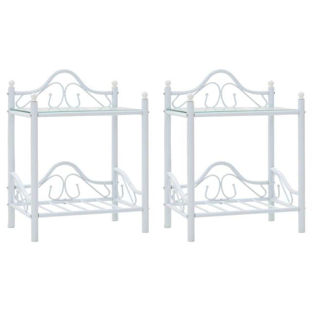 Stylé Tables famille Riyad Table de chevet 2 pcs Acier et verre trempé 45x30,5x60 cm Blanc