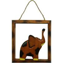 BARCLER - Cadre déco éléphant en bois foncé