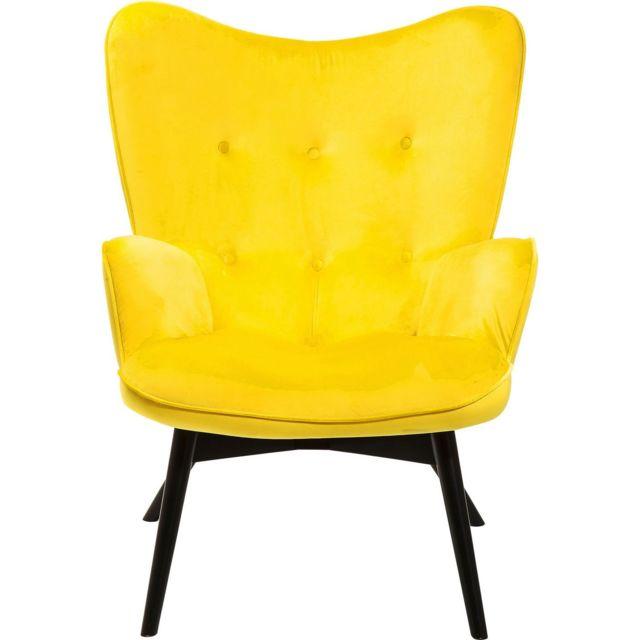 Karedesign Fauteuil Vicky velours jaune Kare Design
