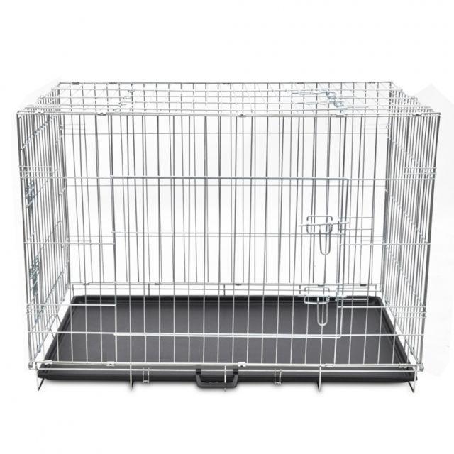 bc30b9f18f8f16 Helloshop26 - Cage en métal pliable pour chien acier galvanisé 109 x 70 x  78 cm