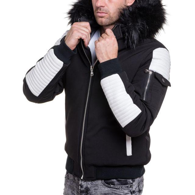 bon marché gamme exclusive vente chaude Blouson homme noir simili cuir blanc grosse fourrure