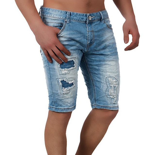 7646945bc8a221 Monsieurmode - Short jean fashion déchiré Short 7744 bleu - pas cher ...