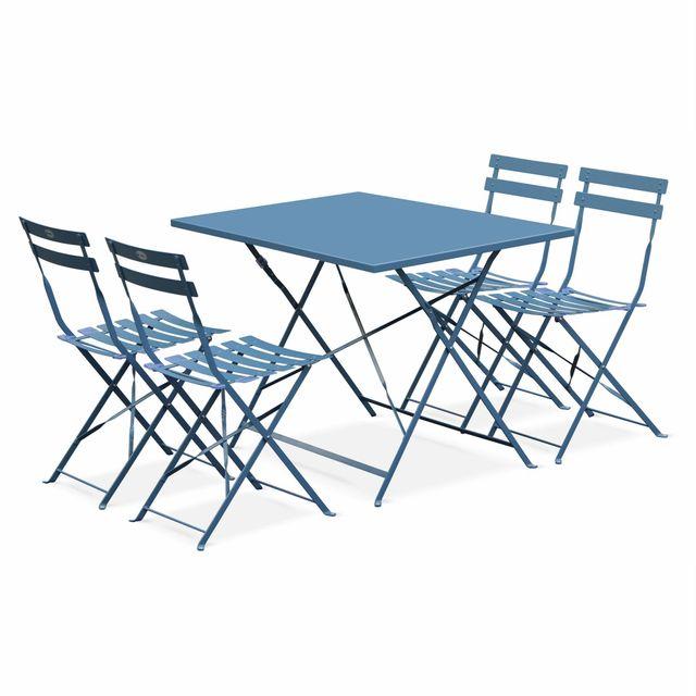 Salon De Jardin Bistrot Pliable Emilia Rectangulaire Bleu Grisé Table 110x70cm Avec Quatre Chaises Pliantes Acier Thermolaqué