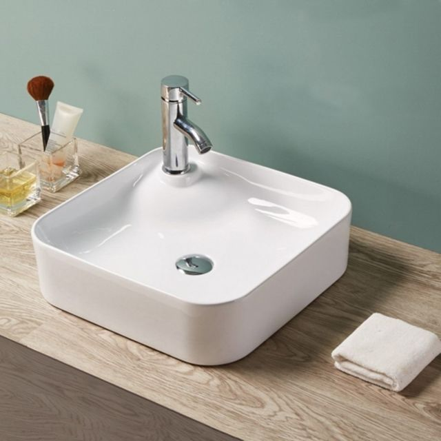 vasque a poser carre Rue Du Bain - Vasque à Poser Carrée - Céramique Blanc Brillant - 43x43 cm -