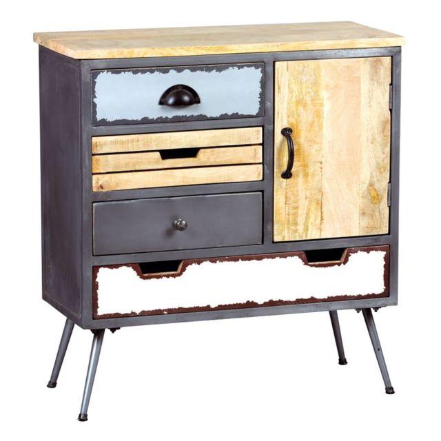 tousmesmeubles meuble dentre 1 portes 4 tiroirs boismtal supply