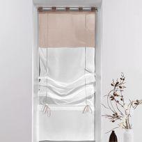 Decoline - Un store droit à passant - rideau voile bicolore blanc / taupe 45 x 180 cm