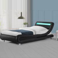 Meubler Design - Lit led design Julio - Couleurs - Noirs - 90x190