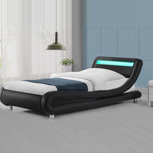 MEUBLER DESIGN Lit led design Julio - Noir - 90x190