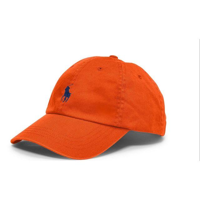 Ralph Lauren - Casquette orange logo marine - pas cher Achat   Vente ... 3436f04336f