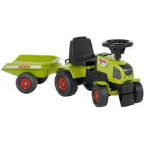 Falk - Tracteur à chevaucher avec remorque Claas Axos 310 Vert