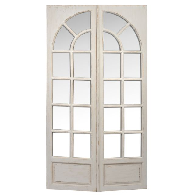 Jolipa Miroir rectangle fenetre bois blanc 76x15,5x122,5cm