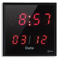 Orium - Horloge a date électrique Led 28x28 cm rouge