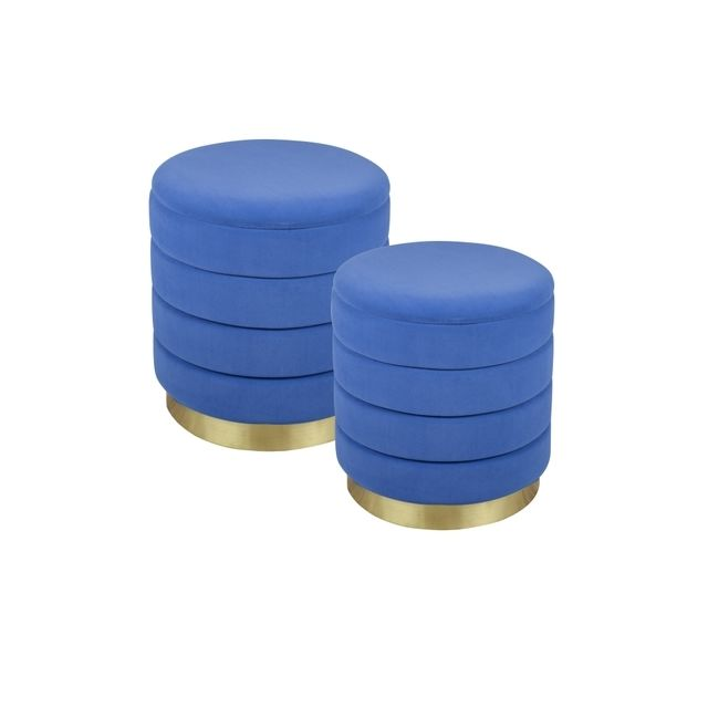 TABLE PASSION Set de 2 poufs bleu dur Bibum 44 et 38 cm