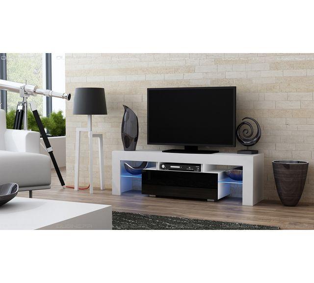 Dusine Meuble Tv Spider à Led en Blanc Mat avec porte Noir Laqué 130 cm