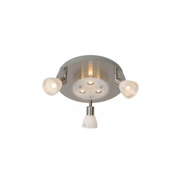 Lucide Kolla Led - Spot Plafond - D30 cm - Led - G9 - 6x2,5W 3000K - Chrome Dépoli