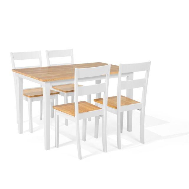 Beliani ensemble de cuisine table et 4 chaises en bois - Ensemble table chaise cuisine pas cher ...