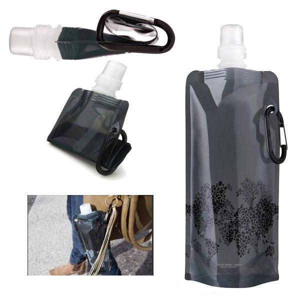 Wonder Bottle - Bouteille de Sport Pliable Noire Capacité 500 ml Sans Bisphenol