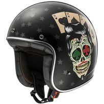 Ls2 - casque jet Fibre moto scooter Of583.31 Tattoo noir brillant