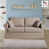 Home Spirit - Canapé 2 places fixes - 100% coton - coloris havane Adele