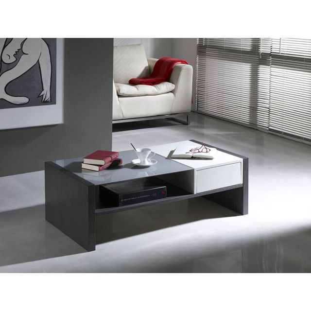 Kasalinea Table basse blanche et grise contemporaine Astride