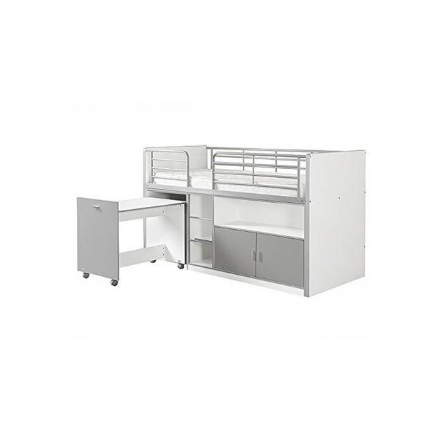 Vipack Lit Mezzanine + Bureau + Rangement 90x 200 Bonny Silver