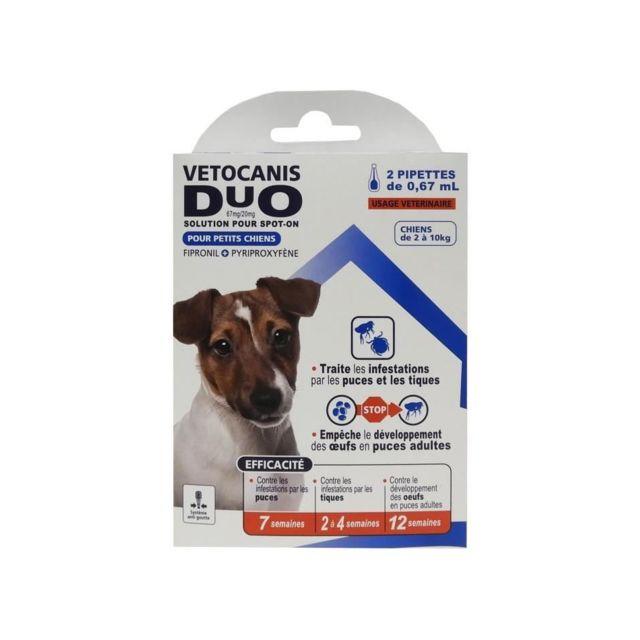 Vetocanis Anti-puces et anti-tiques Duo Spot on - 2 pipettes - Efficacité 7 semaines - Pour petit chien