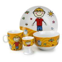 Yong - Service vaisselle enfant 4 pièces en porcelaine Camille Garçon