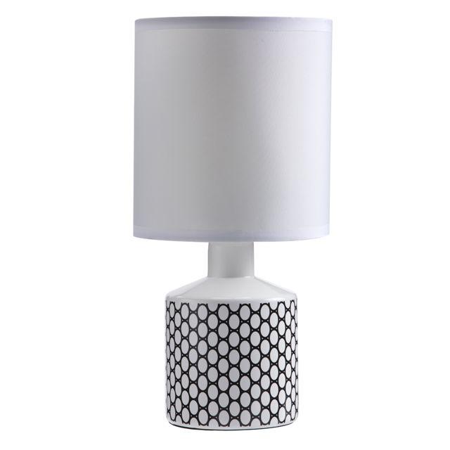 Lampe De Noir Gisele Céramique 29x14cm Cercle Chevet Motif HYeIDWE29