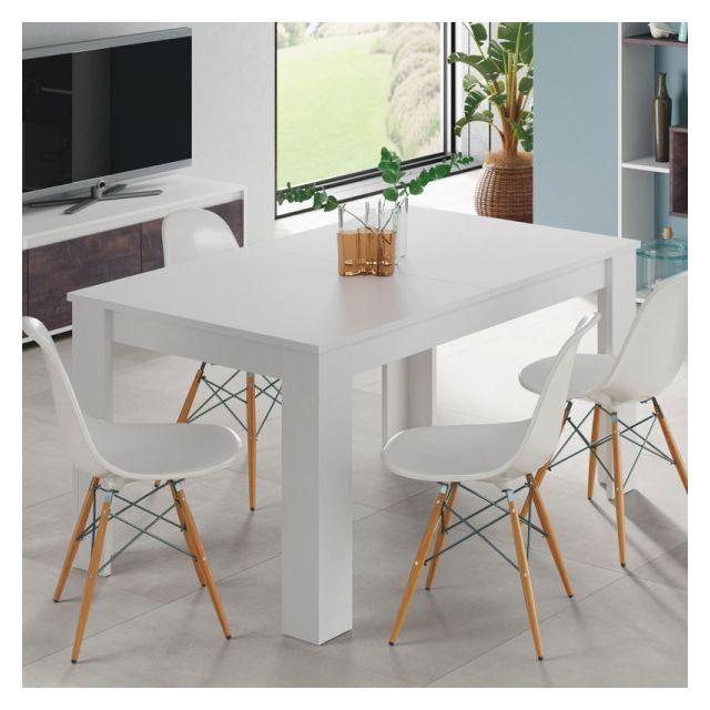 Dansmamaison Table de repas à allonge Blanc mat - Ruyruy - L 140/190 x l 90 x H 78 cm