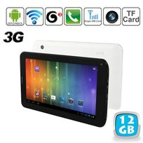 Tablette tactile 3G Android 4.0 7 pouces Gsm WiFi 3D Hd 12 Go Blanc