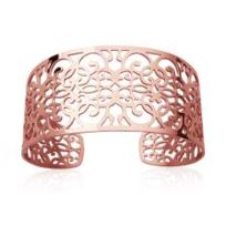 Collection Zanzybar - Bracelet manchette Acier plaqué or rose large de 3 cm Fez