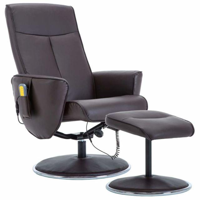 Helloshop26 Fauteuil de massage réglable et repose-pied confort relaxant massant détente simili-cuir marron 1702042
