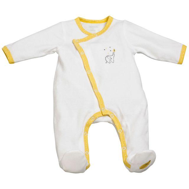 Sauthon - Pyjama bébé blanc jaune 1 mois Babyfan - pas cher Achat   Vente  Pyjamas 944219a97a5