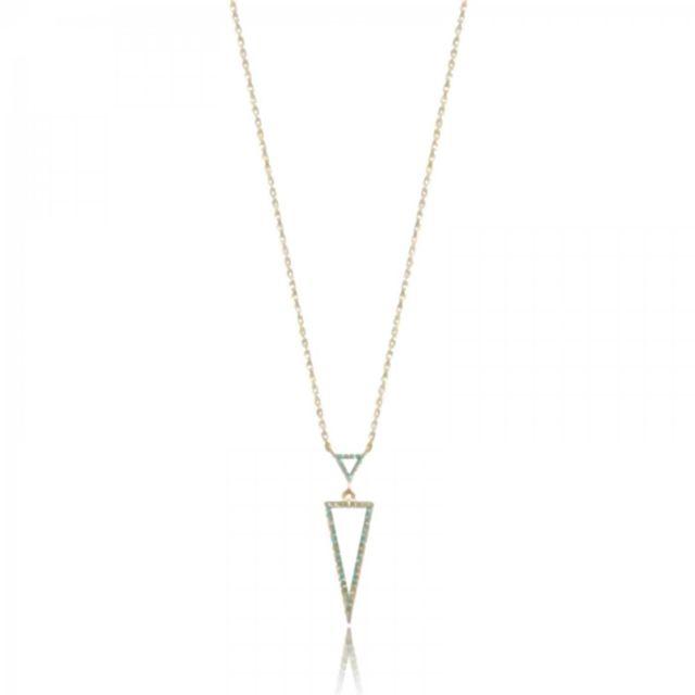 Bijoux En Vogue - Collier Triangle Plaqué Or Géométrique Bleu   Jaune - pas  cher Achat   Vente Chaînes, colliers - RueDuCommerce d46794f43217