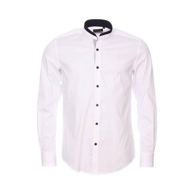 antony morato chemise slim blanche col mao doubl d 39 un. Black Bedroom Furniture Sets. Home Design Ideas