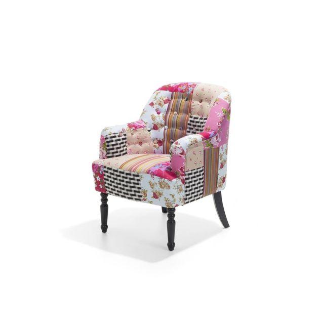 beliani fauteuil patchwork fauteuil en tissu multicolore mandal color pas cher achat. Black Bedroom Furniture Sets. Home Design Ideas