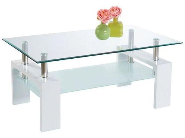 Table Basse Rectangulaire En Mdf Avec Un Plateau En Verre Coloris Blanc Laque C Borocz
