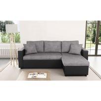 Usinestreet - Canapé d'Angle Réversible et Convertible avec Coffre Gris / Noir Maria